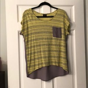Tops - MODlusive high-low shirt, yellow/grey, size Small